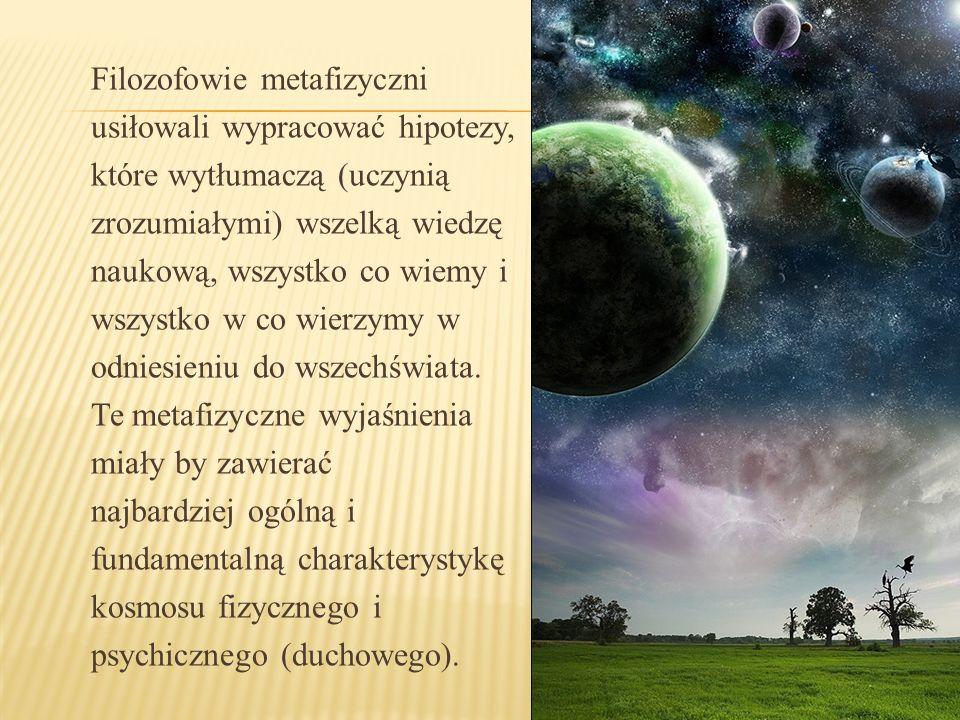 Filozofowie metafizyczni usiłowali wypracować hipotezy, które wytłumaczą (uczynią zrozumiałymi) wszelką wiedzę naukową, wszystko co wiemy i wszystko w
