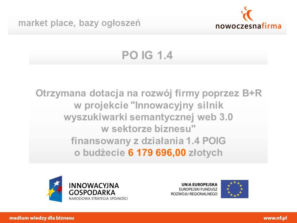 medium wiedzy dla biznesuwww.nf.pl market place, bazy ogłoszeń PO IG 1.4 Otrzymana dotacja na rozwój firmy poprzez B+R w projekcie