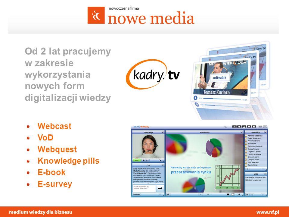 medium wiedzy dla biznesuwww.nf.pl Od 2 lat pracujemy w zakresie wykorzystania nowych form digitalizacji wiedzy Webcast VoD Webquest Knowledge pills E