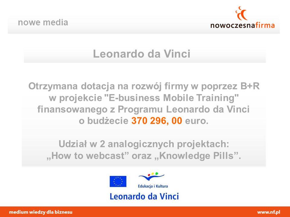 medium wiedzy dla biznesuwww.nf.pl nowe media Leonardo da Vinci Otrzymana dotacja na rozwój firmy w poprzez B+R w projekcie
