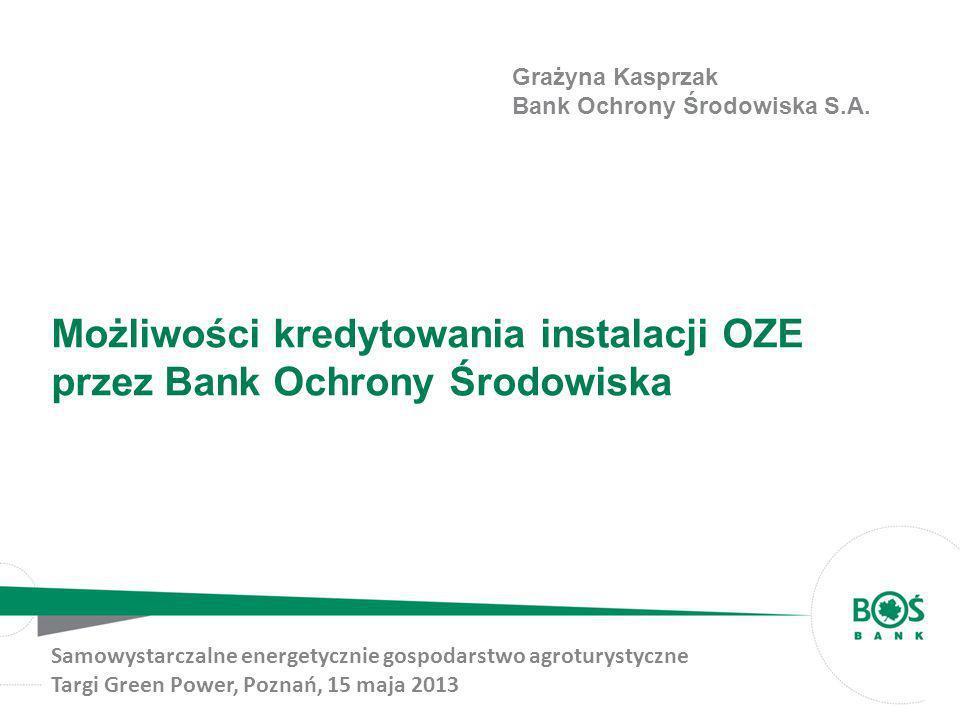 Możliwości kredytowania instalacji OZE przez Bank Ochrony Środowiska Samowystarczalne energetycznie gospodarstwo agroturystyczne Targi Green Power, Po