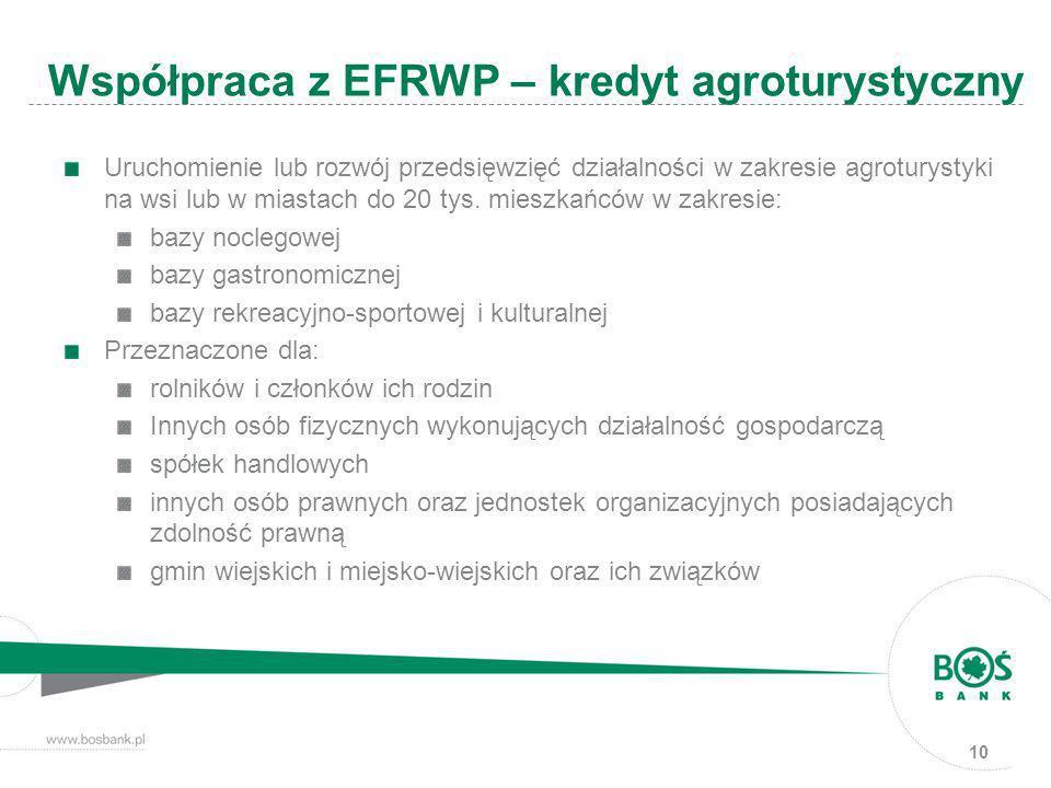 10 Uruchomienie lub rozwój przedsięwzięć działalności w zakresie agroturystyki na wsi lub w miastach do 20 tys. mieszkańców w zakresie: bazy noclegowe