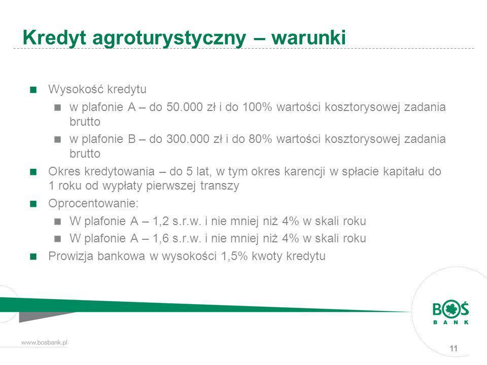11 Wysokość kredytu w plafonie A – do 50.000 zł i do 100% wartości kosztorysowej zadania brutto w plafonie B – do 300.000 zł i do 80% wartości kosztor