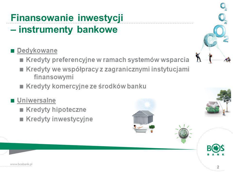 Dedykowane Kredyty preferencyjne w ramach systemów wsparcia Kredyty we współpracy z zagranicznymi instytucjami finansowymi Kredyty komercyjne ze środk