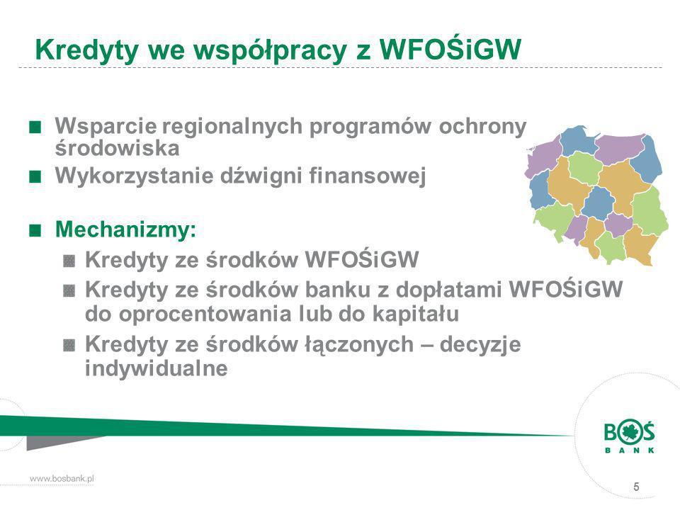 5 Wsparcie regionalnych programów ochrony środowiska Wykorzystanie dźwigni finansowej Mechanizmy: Kredyty ze środków WFOŚiGW Kredyty ze środków banku