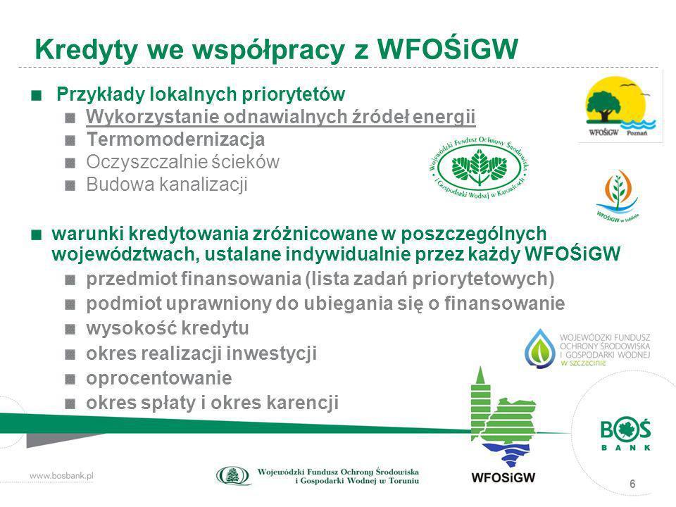 6 Przykłady lokalnych priorytetów Wykorzystanie odnawialnych źródeł energii Termomodernizacja Oczyszczalnie ścieków Budowa kanalizacji warunki kredyto
