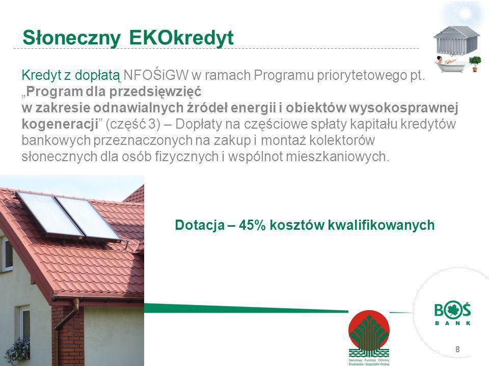 8 Kredyt z dopłatą NFOŚiGW w ramach Programu priorytetowego pt.Program dla przedsięwzięć w zakresie odnawialnych źródeł energii i obiektów wysokospraw