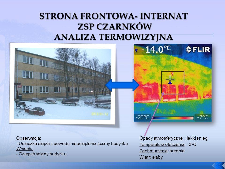 Opady atmosferyczne : lekki śnieg Temperatura otoczenia: -3 o C Zachmurzenie: średnie Wiatr: słaby Obserwacja: -Ucieczka ciepła z powodu nieocieplenia