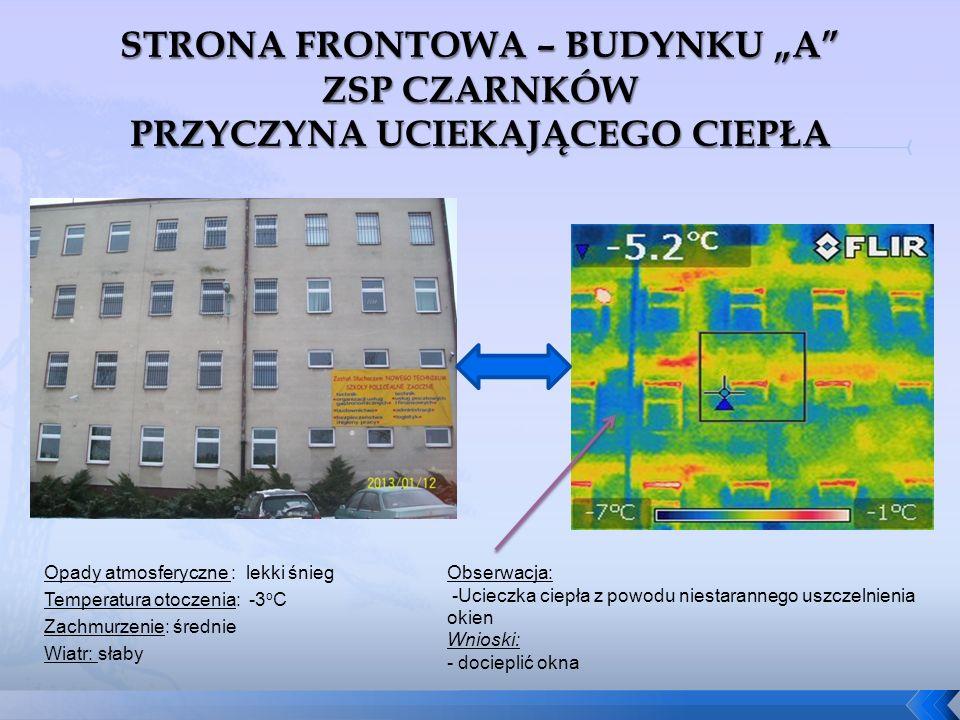Obserwacja: -Ucieczka ciepła z powodu niestarannego uszczelnienia okien Wnioski: - docieplić okna Opady atmosferyczne : lekki śnieg Temperatura otocze
