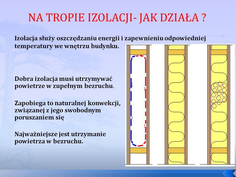 Izolacja służy oszczędzaniu energii i zapewnieniu odpowiedniej temperatury we wnętrzu budynku. Najważniejsze jest utrzymanie powietrza w bezruchu. Dob