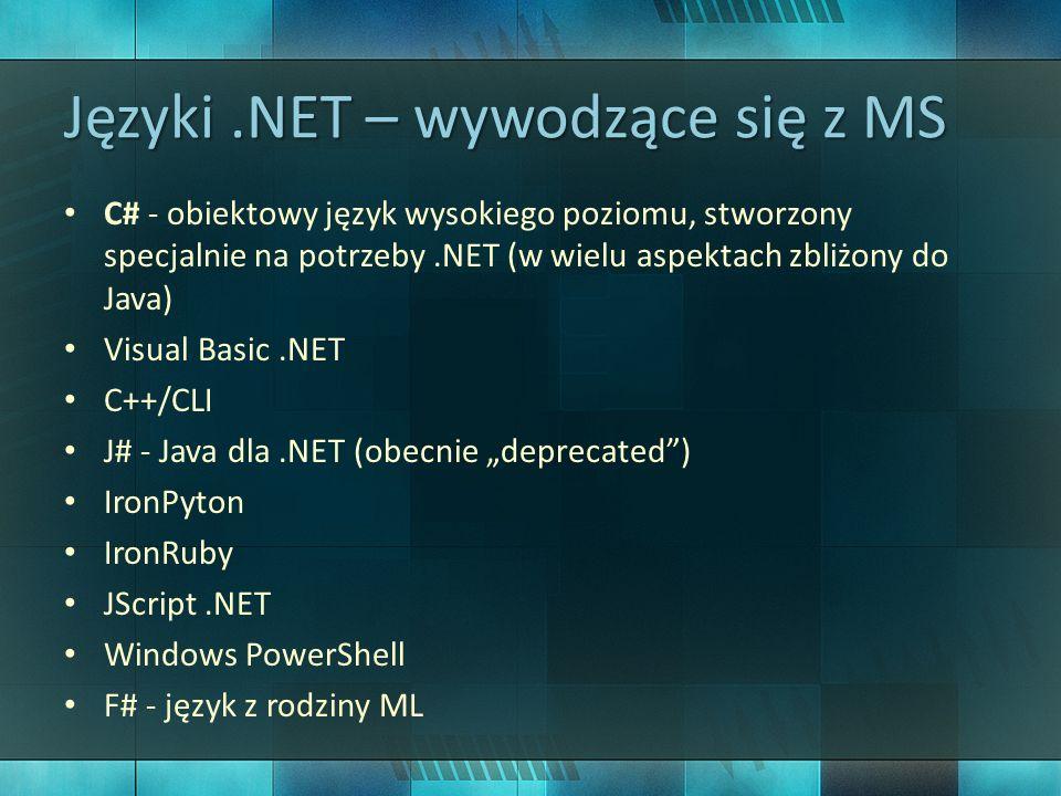 Języki.NET – inne PHP – projekt Phalanger Perl – projekt Active Perl Lisp – projekty IronLisp, L#, DotLisp Fortran ObjectPascal/Delphi – Borlnad Delphi Studio ANSI C COBOL Nemerele Smalltalk Boo Ada Oberon Modula-2 Java – istnieje możliwość uruchamiania Java bytecode w.NET przez IKVM … i wiele innych!