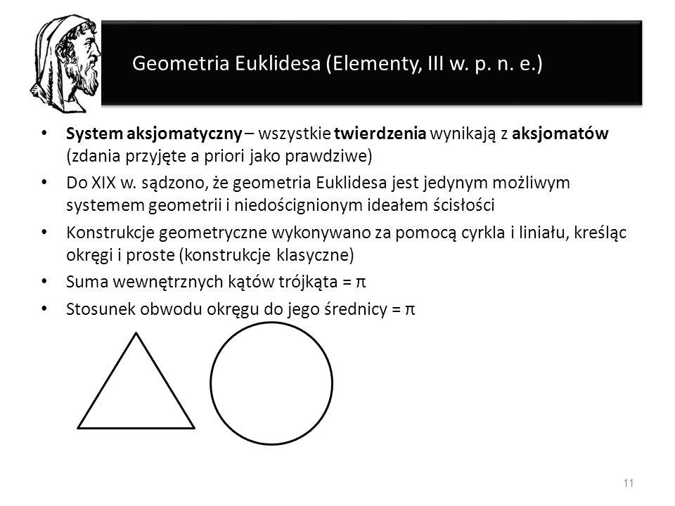 Geometria Euklidesa (Elementy, III w. p. n. e.) System aksjomatyczny – wszystkie twierdzenia wynikają z aksjomatów (zdania przyjęte a priori jako praw