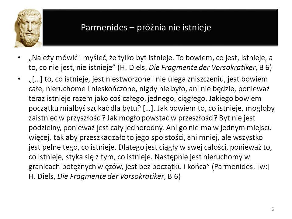 Parmenides – próżnia nie istnieje Należy mówić i myśleć, że tylko byt istnieje. To bowiem, co jest, istnieje, a to, co nie jest, nie istnieje (H. Diel
