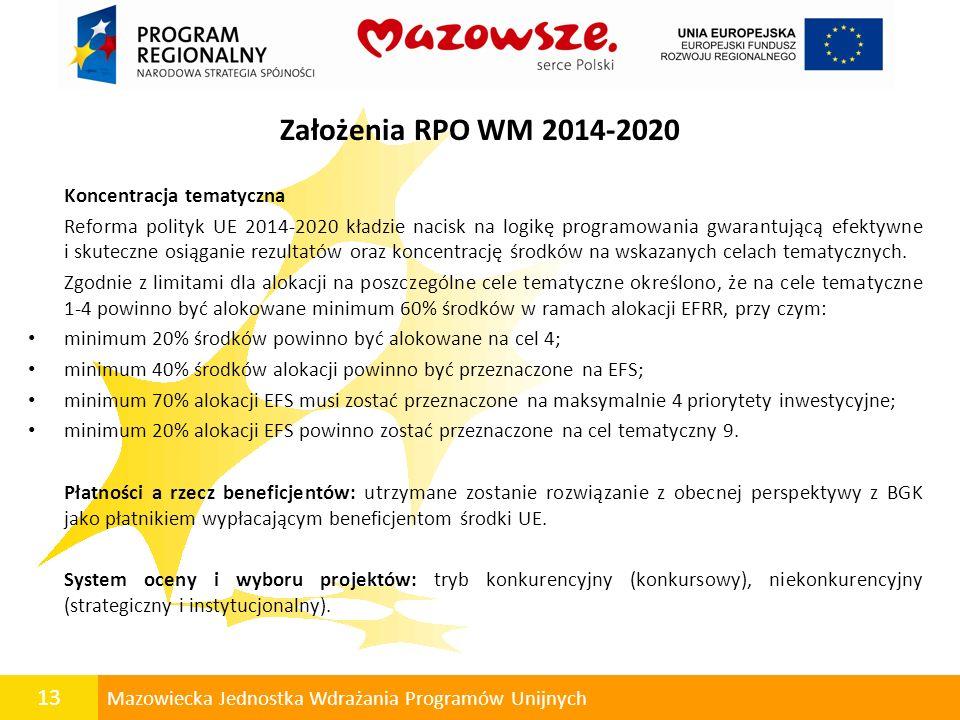13 Mazowiecka Jednostka Wdrażania Programów Unijnych Założenia RPO WM 2014-2020 Koncentracja tematyczna Reforma polityk UE 2014-2020 kładzie nacisk na
