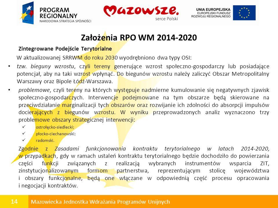 14 Mazowiecka Jednostka Wdrażania Programów Unijnych Założenia RPO WM 2014-2020 Zintegrowane Podejście Terytorialne W aktualizowanej SRRWM do roku 203