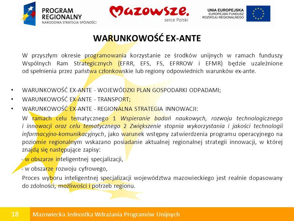 18 Mazowiecka Jednostka Wdrażania Programów Unijnych WARUNKOWOŚĆ EX-ANTE W przyszłym okresie programowania korzystanie ze środków unijnych w ramach fu