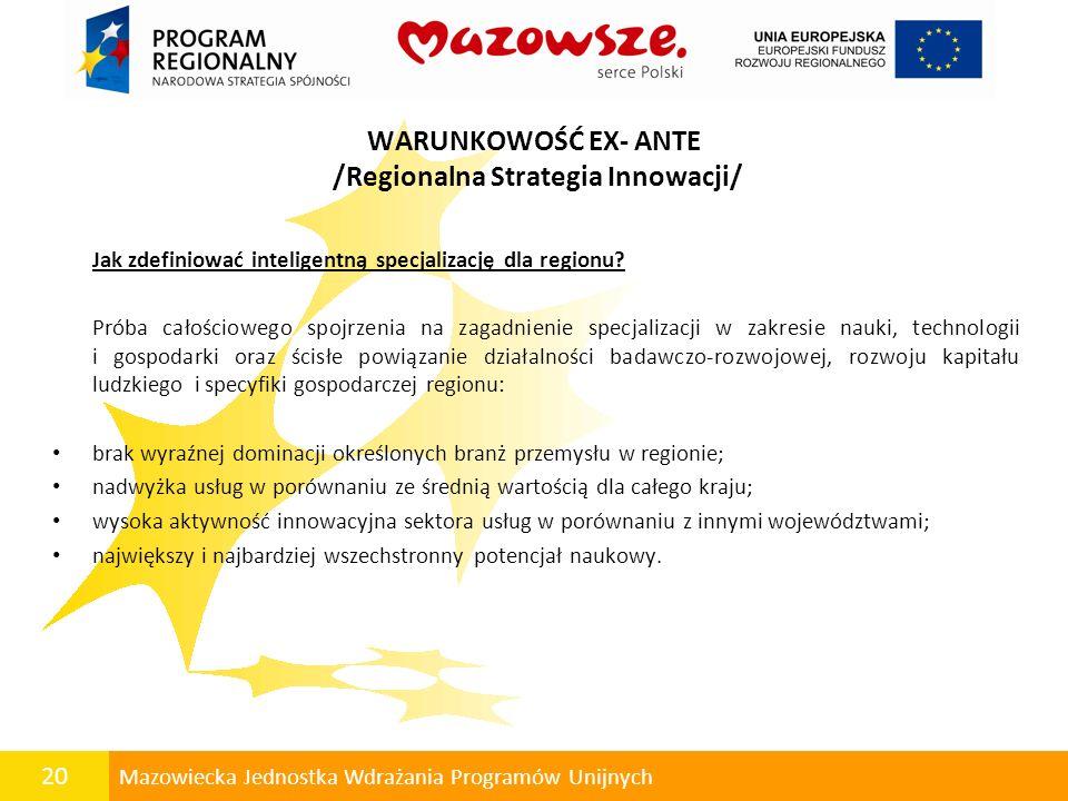 20 Mazowiecka Jednostka Wdrażania Programów Unijnych WARUNKOWOŚĆ EX- ANTE /Regionalna Strategia Innowacji/ Jak zdefiniować inteligentną specjalizację
