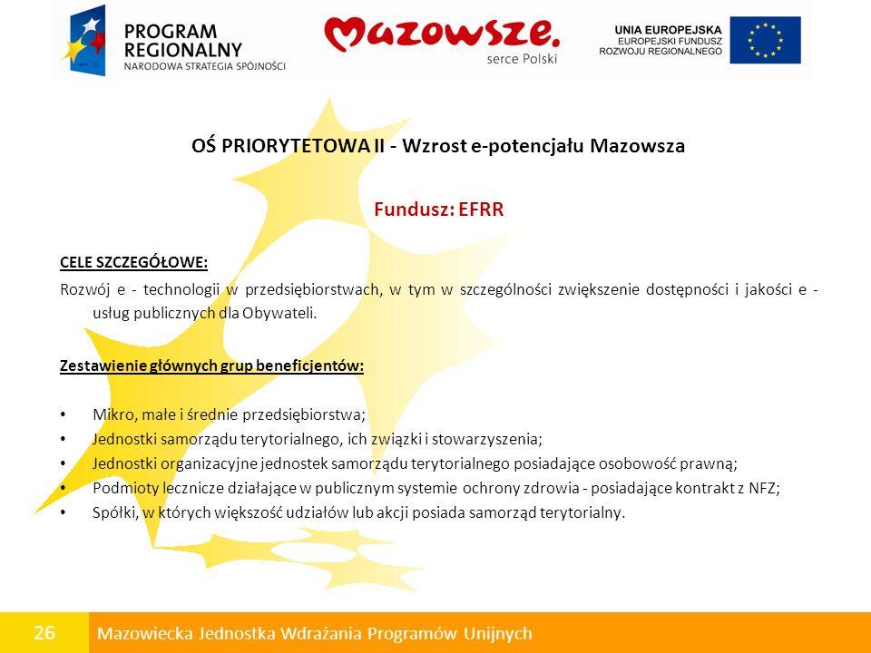 26 Mazowiecka Jednostka Wdrażania Programów Unijnych OŚ PRIORYTETOWA II - Wzrost e-potencjału Mazowsza Fundusz: EFRR CELE SZCZEGÓŁOWE: Rozwój e - tech