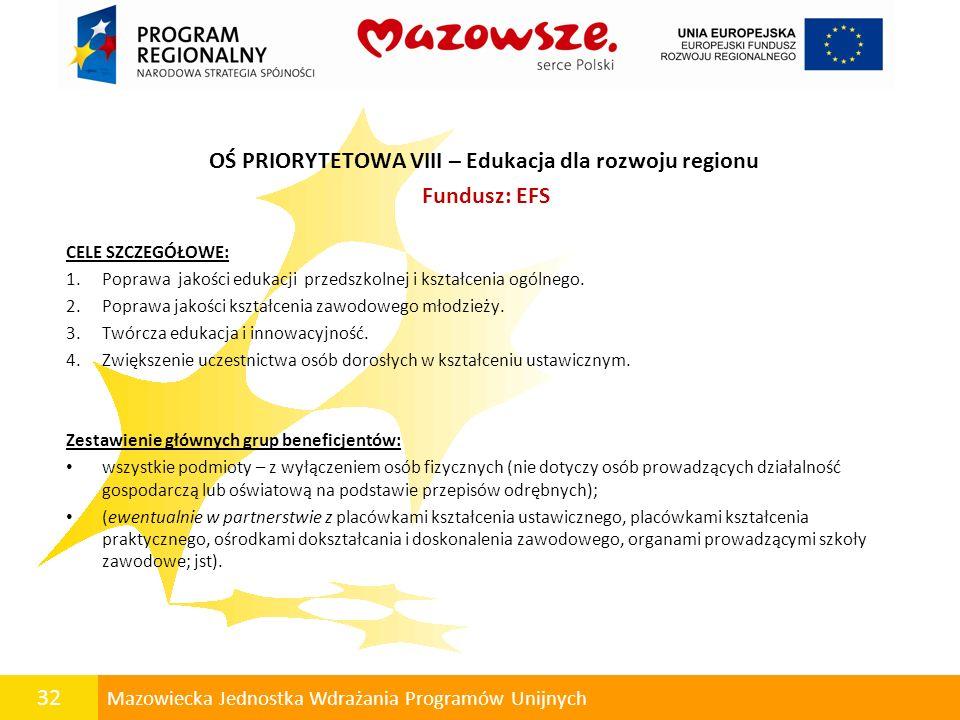 32 Mazowiecka Jednostka Wdrażania Programów Unijnych OŚ PRIORYTETOWA VIII – Edukacja dla rozwoju regionu Fundusz: EFS CELE SZCZEGÓŁOWE: 1.Poprawa jako