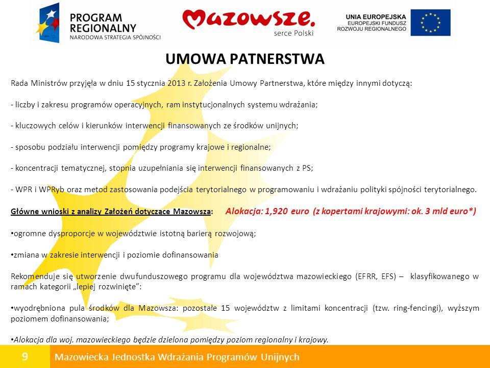 9 Mazowiecka Jednostka Wdrażania Programów Unijnych UMOWA PATNERSTWA Rada Ministrów przyjęła w dniu 15 stycznia 2013 r. Założenia Umowy Partnerstwa, k