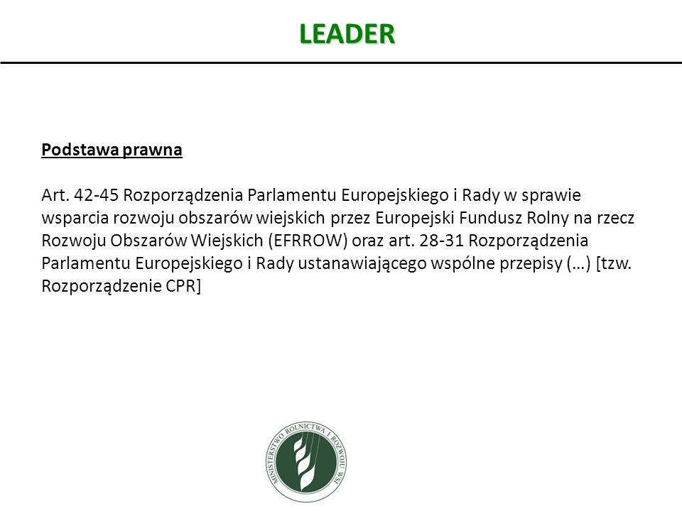 LEADER Podstawa prawna Art. 42-45 Rozporządzenia Parlamentu Europejskiego i Rady w sprawie wsparcia rozwoju obszarów wiejskich przez Europejski Fundus