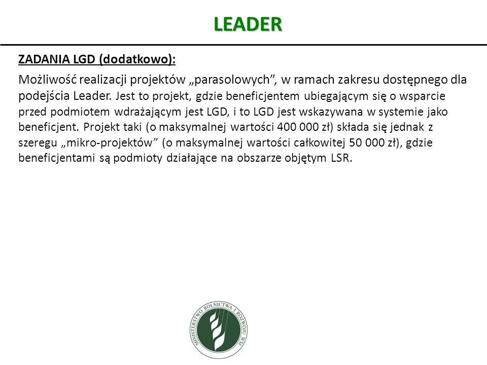 LEADER ZADANIA LGD (dodatkowo): Możliwość realizacji projektów parasolowych, w ramach zakresu dostępnego dla podejścia Leader. Jest to projekt, gdzie