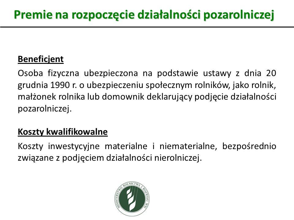 Beneficjent Osoba fizyczna ubezpieczona na podstawie ustawy z dnia 20 grudnia 1990 r. o ubezpieczeniu społecznym rolników, jako rolnik, małżonek rolni