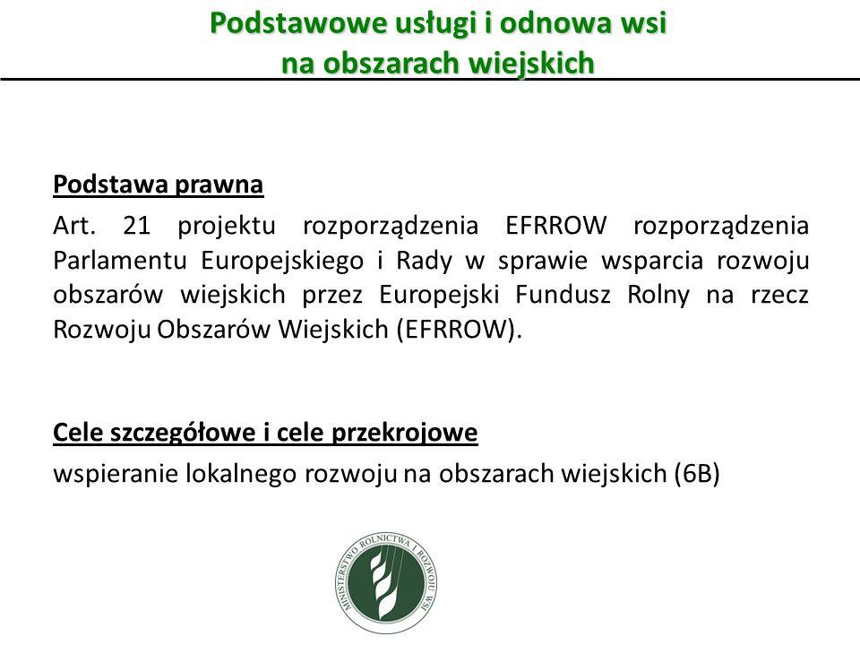 Podstawowe usługi i odnowa wsi na obszarach wiejskich Podstawa prawna Art. 21 projektu rozporządzenia EFRROW rozporządzenia Parlamentu Europejskiego i