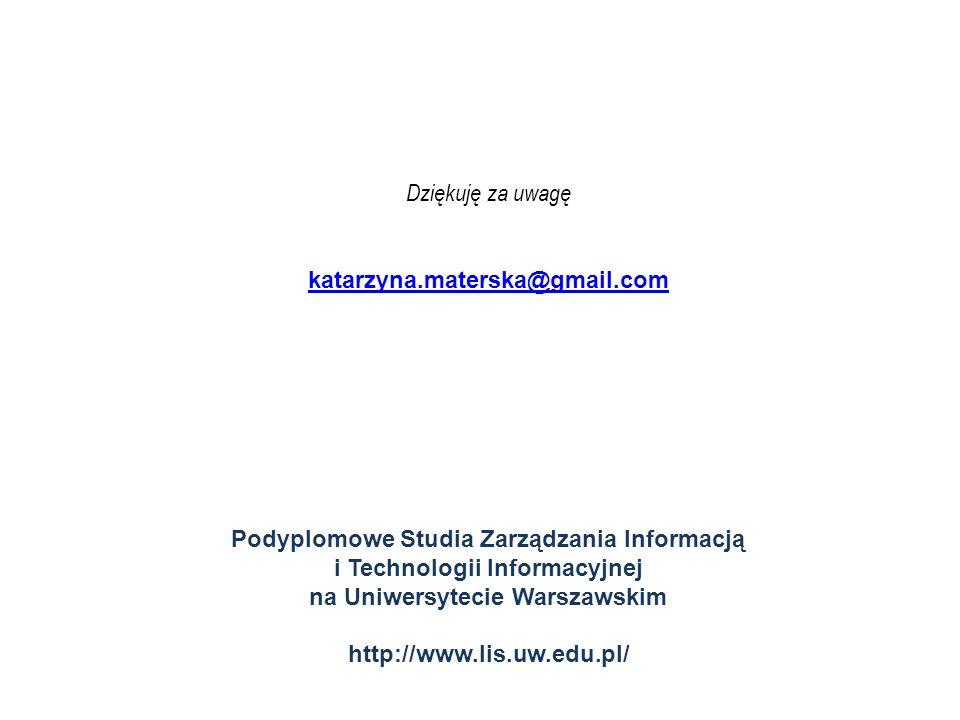 Dziękuję za uwagę katarzyna.materska@gmail.com Podyplomowe Studia Zarządzania Informacją i Technologii Informacyjnej na Uniwersytecie Warszawskim http