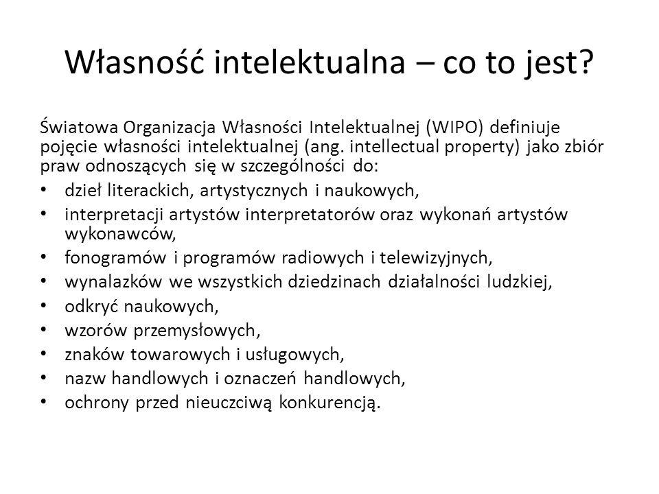 Własność intelektualna – co to jest? Światowa Organizacja Własności Intelektualnej (WIPO) definiuje pojęcie własności intelektualnej (ang. intellectua