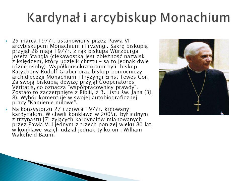 25 listopada 1981r.otrzymał nominację z rąk Jana Pawła II na prefekta Kongregacji Nauki Wiary.