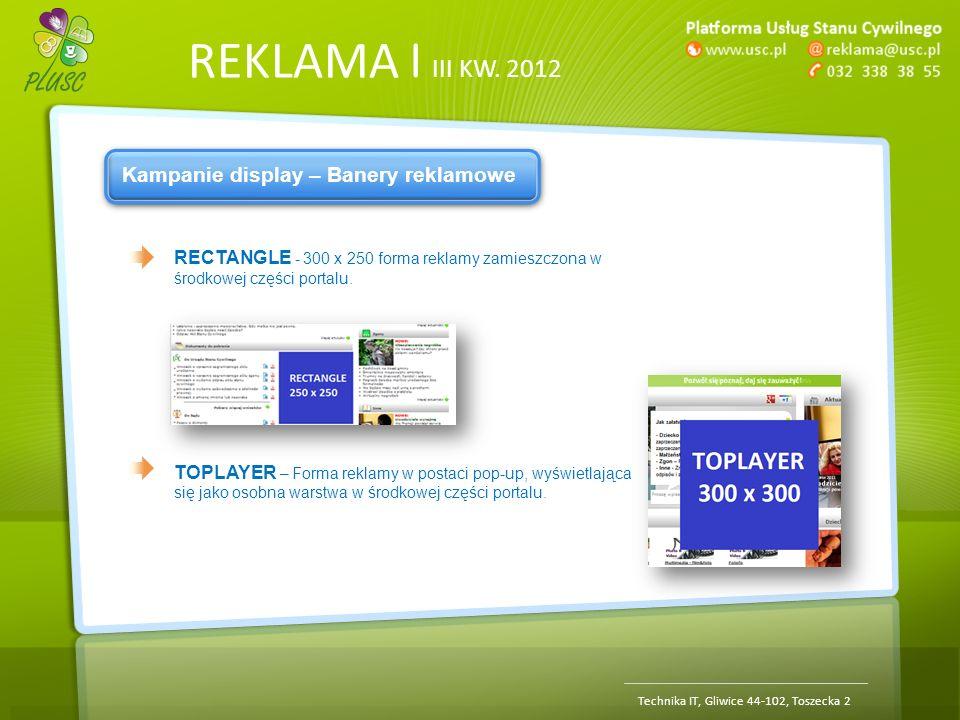 REKLAMA | III KW. 2012 Technika IT, Gliwice 44-102, Toszecka 2 Kampanie display – Banery reklamowe RECTANGLE - 300 x 250 forma reklamy zamieszczona w