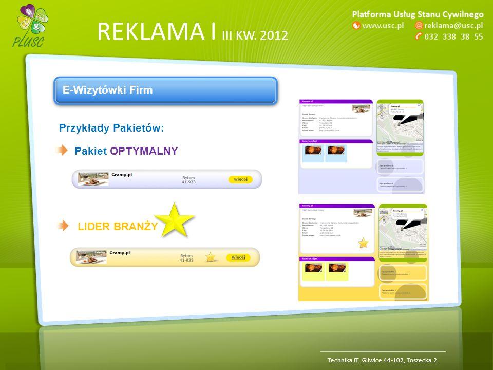 REKLAMA | III KW. 2012 Technika IT, Gliwice 44-102, Toszecka 2 E-Wizytówki Firm Przykłady Pakietów: Pakiet OPTYMALNY LIDER BRANŻY