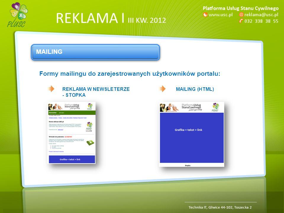 REKLAMA | III KW. 2012 Technika IT, Gliwice 44-102, Toszecka 2 MAILING Formy mailingu do zarejestrowanych użytkowników portalu: REKLAMA W NEWSLETERZE