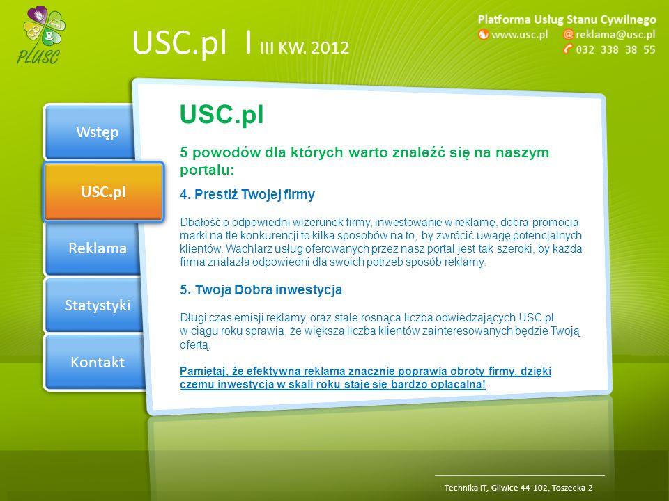 Section 1 USC.pl Reklama Statystyki Kontakt USC.pl | III KW. 2012 Wstęp USC.pl Technika IT, Gliwice 44-102, Toszecka 2 5 powodów dla których warto zna