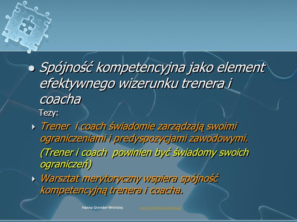 Spójność kompetencyjna jako element efektywnego wizerunku trenera i coacha Tezy: Trener i coach świadomie zarządzają swoimi ograniczeniami i predyspoz