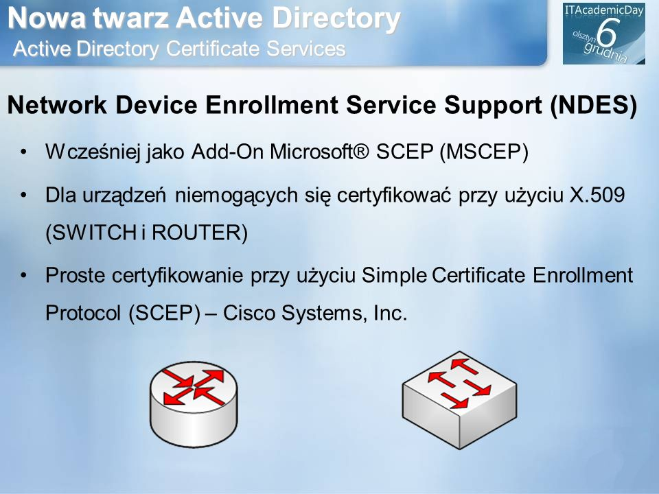 Nowa twarz Active Directory Active Directory Certificate Services Network Device Enrollment Service Support (NDES) Wcześniej jako Add-On Microsoft® SC