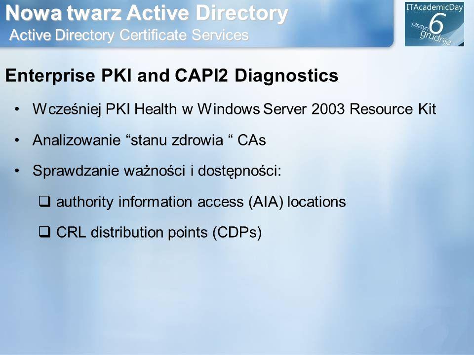 Nowa twarz Active Directory Active Directory Certificate Services Enterprise PKI and CAPI2 Diagnostics Wcześniej PKI Health w Windows Server 2003 Reso
