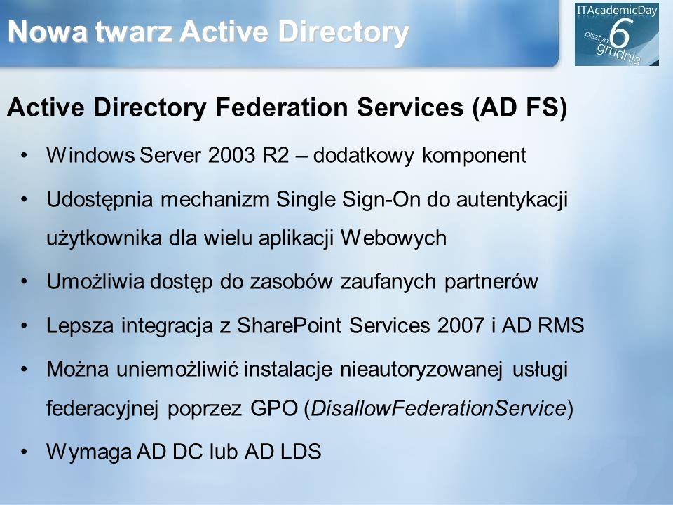 Nowa twarz Active Directory Active Directory Federation Services (AD FS) Windows Server 2003 R2 – dodatkowy komponent Udostępnia mechanizm Single Sign