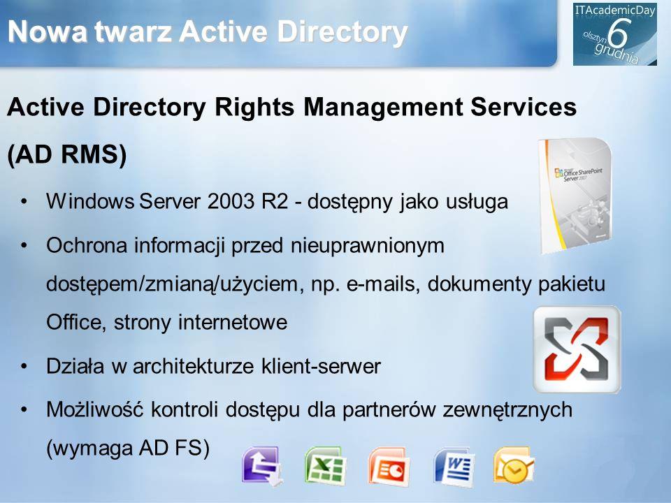 Nowa twarz Active Directory Active Directory Rights Management Services (AD RMS) Windows Server 2003 R2 - dostępny jako usługa Ochrona informacji prze