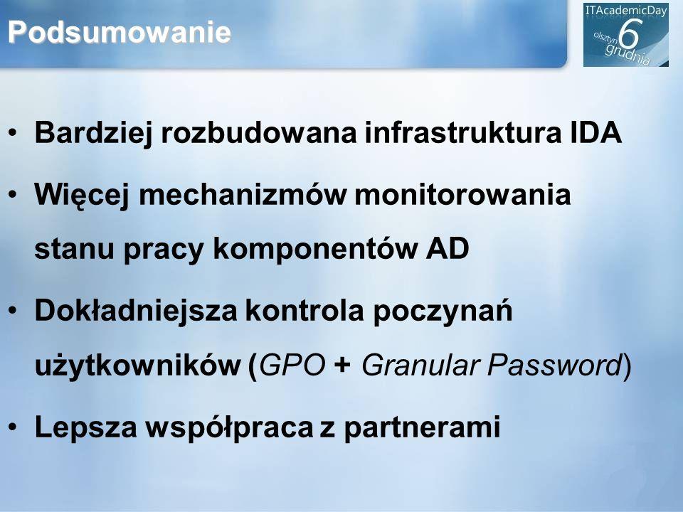 Podsumowanie Bardziej rozbudowana infrastruktura IDA Więcej mechanizmów monitorowania stanu pracy komponentów AD Dokładniejsza kontrola poczynań użytk