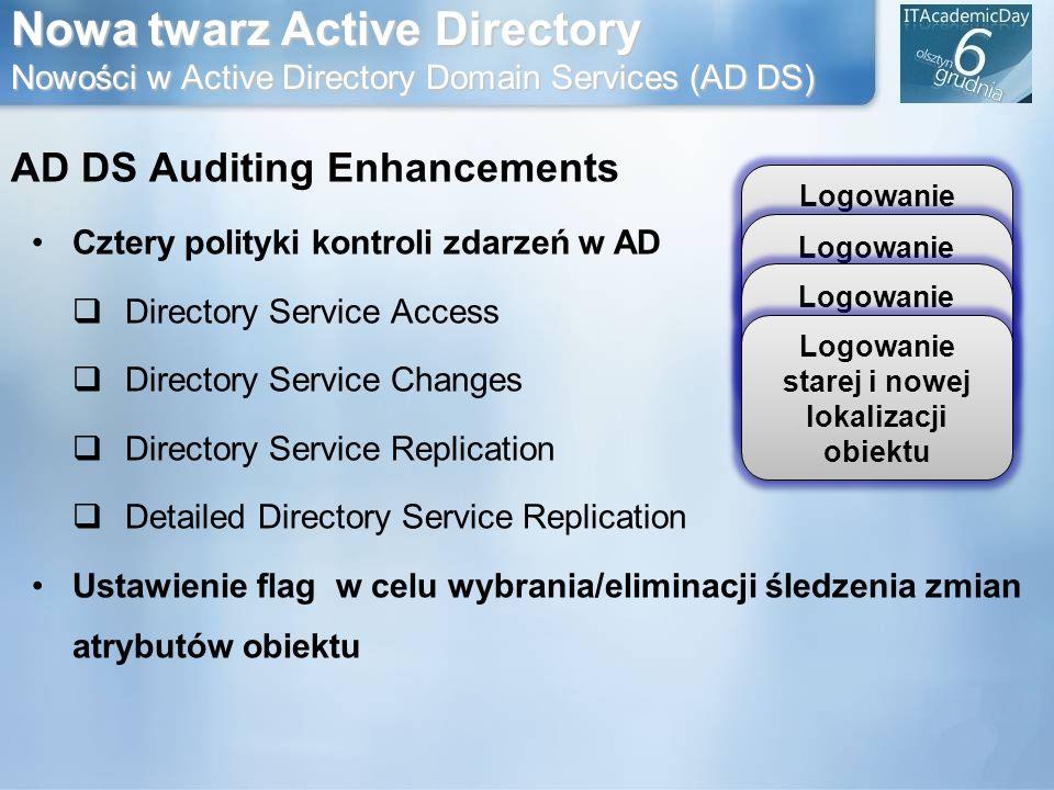 Nowa twarz Active Directory Nowości w Active Directory Domain Services (AD DS) AD DS Auditing Enhancements Cztery polityki kontroli zdarzeń w AD Direc