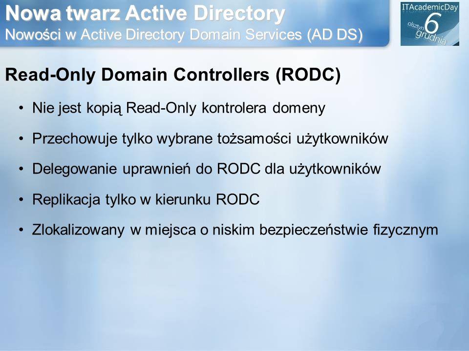 Nowa twarz Active Directory Nowości w Active Directory Domain Services (AD DS) Read-Only Domain Controllers (RODC) Nie jest kopią Read-Only kontrolera