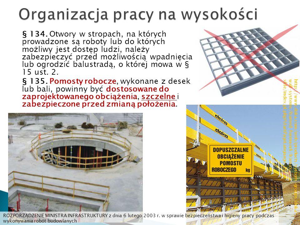 § 134. Otwory w stropach, na których prowadzone są roboty lub do których możliwy jest dostęp ludzi, należy zabezpieczyć przed możliwością wpadnięcia l