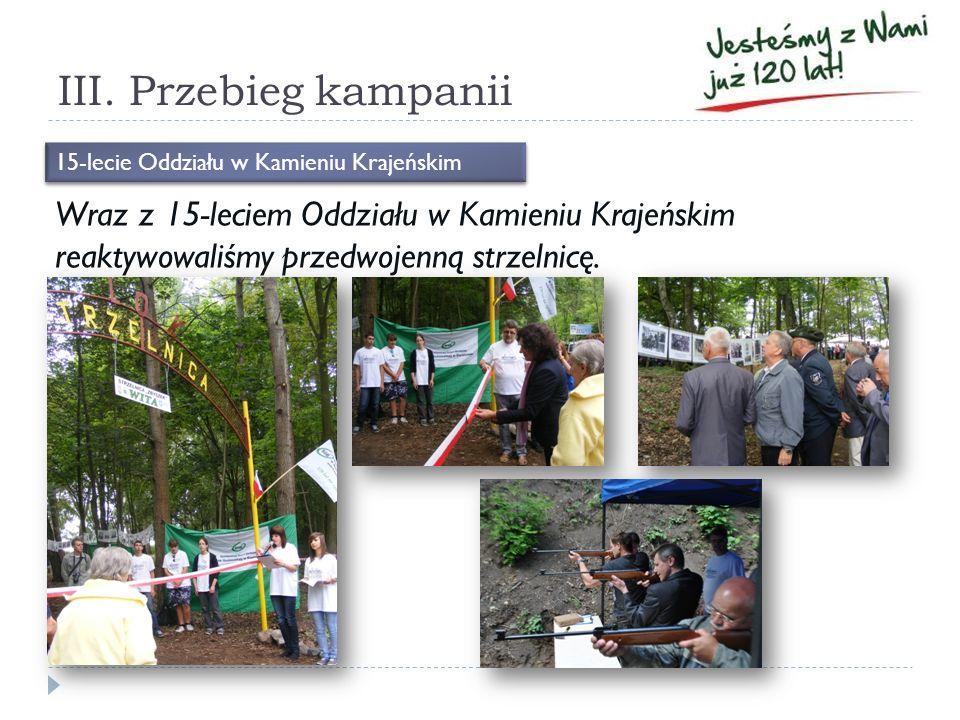III. Przebieg kampanii Wraz z 15-leciem Oddziału w Kamieniu Krajeńskim reaktywowaliśmy przedwojenną strzelnicę. 15-lecie Oddziału w Kamieniu Krajeński