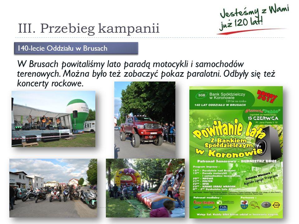 III. Przebieg kampanii W Brusach powitaliśmy lato paradą motocykli i samochodów terenowych. Można było też zobaczyć pokaz paralotni. Odbyły się też ko