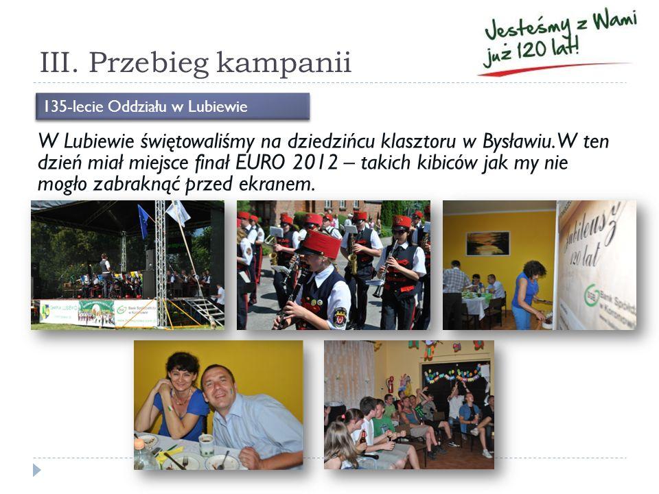 III. Przebieg kampanii W Lubiewie świętowaliśmy na dziedzińcu klasztoru w Bysławiu. W ten dzień miał miejsce finał EURO 2012 – takich kibiców jak my n