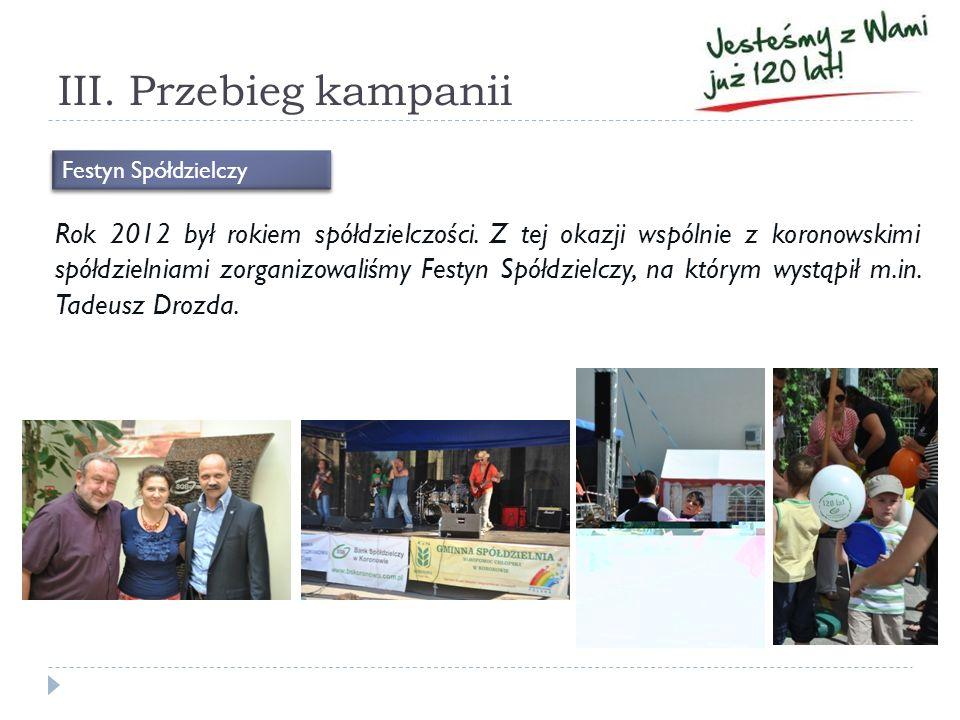 III. Przebieg kampanii Rok 2012 był rokiem spółdzielczości. Z tej okazji wspólnie z koronowskimi spółdzielniami zorganizowaliśmy Festyn Spółdzielczy,