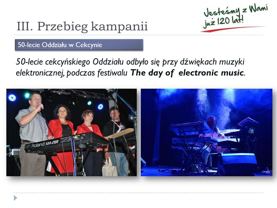 III. Przebieg kampanii 50-lecie cekcyńskiego Oddziału odbyło się przy dźwiękach muzyki elektronicznej, podczas festiwalu The day of electronic music.