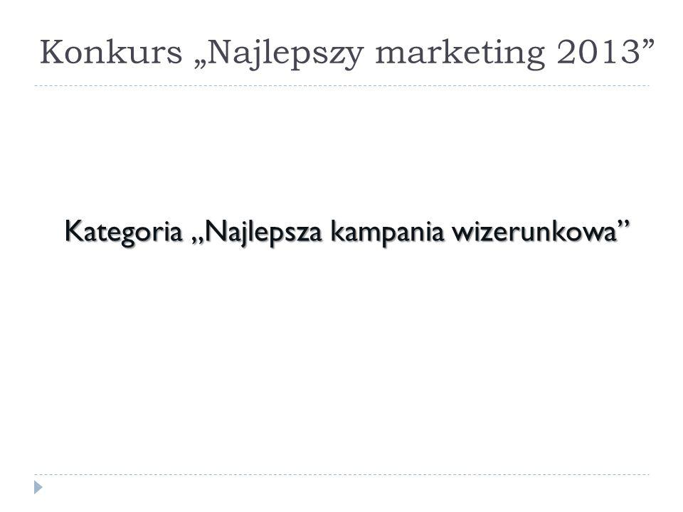 Konkurs Najlepszy marketing 2013 Kategoria Najlepsza kampania wizerunkowa